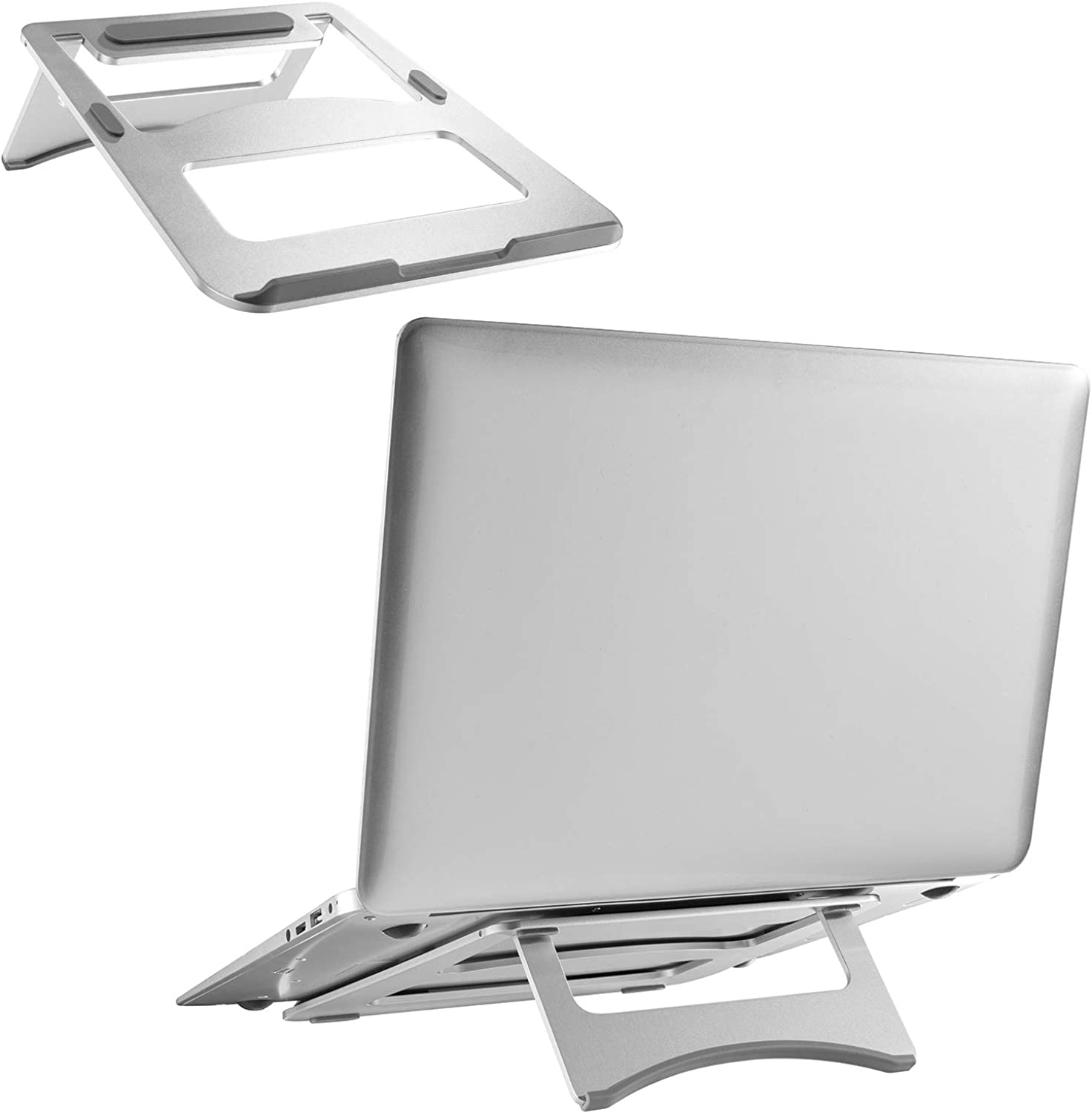 WALI Aluminum Laptop Riser Stand Universal Portable Foldable for up to 15 inch Notebook, MacBook, iPad, Tablet (FLT001), Silver