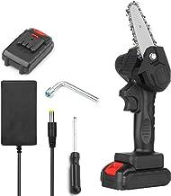 Sierra de podar eléctrica portátil Sierra de cadena inalámbrica de 4 pulgadas con 2 paquetes de cortadores de madera de una mano de batería recargable de 2.0 A Varibale Speed