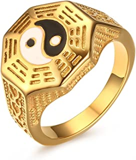 Mens Womens Stainless Steel Yin Yang Signet Ring for Taoism South Korean Size 7-11