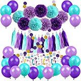 Zerodeco Mermaid Party Decorations, 57 Pz Pom Poms Carta Nappa a Pois Ghirlanda Mermaid Confetti Palloncini per Sirene Compleanno Baby Shower Articoli per Feste di Compleanno - Teal Lavender Viola