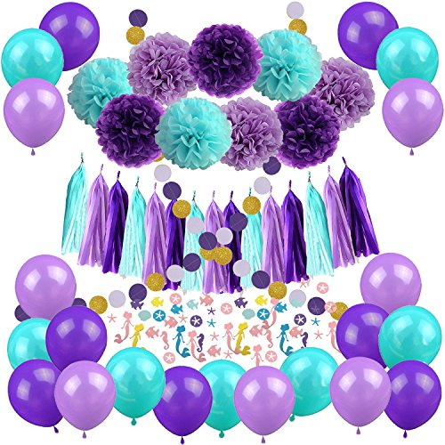 Mermaid Party Decorations, Recosis 57 Pcs Pom Poms Paper Tassel Garland Mermaid Confetti Balloons for Mermaid Birthday Baby Shower Frozen Under the Sea Party Supplies - Teal Lavender Purple