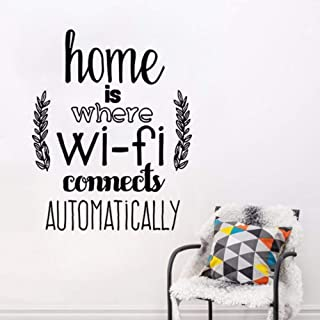 Pbldb 42X53Cm Home Decor Home is Where WiFi Connected Quote Wall Decals Living Room Vinyl Wall Stickers Family Love Design Wall Mural