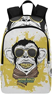 Swag Monkey Scarf Sunglasses Print Tshirt Casual Daypack Travel Bag College School Backpack for Mens and Women