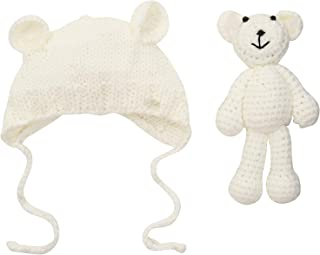 Your Gallery Knit Bear Beanie Hat with Crochet Doll for Baby Infant,Newborn Photo Props