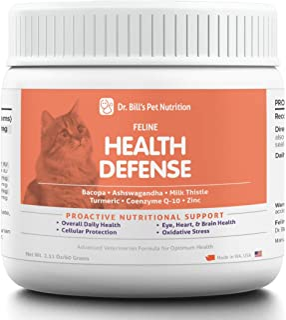 Dr. Bill's Feline Health Defense   Pet Supplement   Antioxidants for Cats   Contains Bacopa, Ashwagandha, Milk Thistle, Tu...
