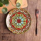 FANMENGY Plato de cena de Placa de cerámica creativa personalidad Placa pintada a mano del filete occidental Plato de las pastas plato principal plato auténtico patrón de vajilla de color 21.3X2.5Cm
