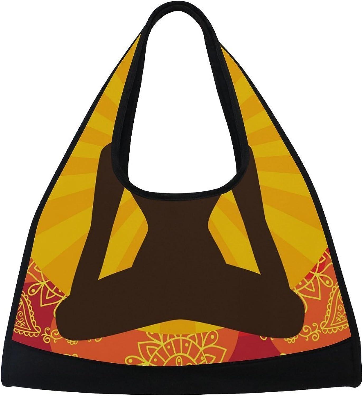 MAPOLO Indian Background with Buddha Symbol Travel Duffel Bag Sports Gym Bag Shoulder Bag