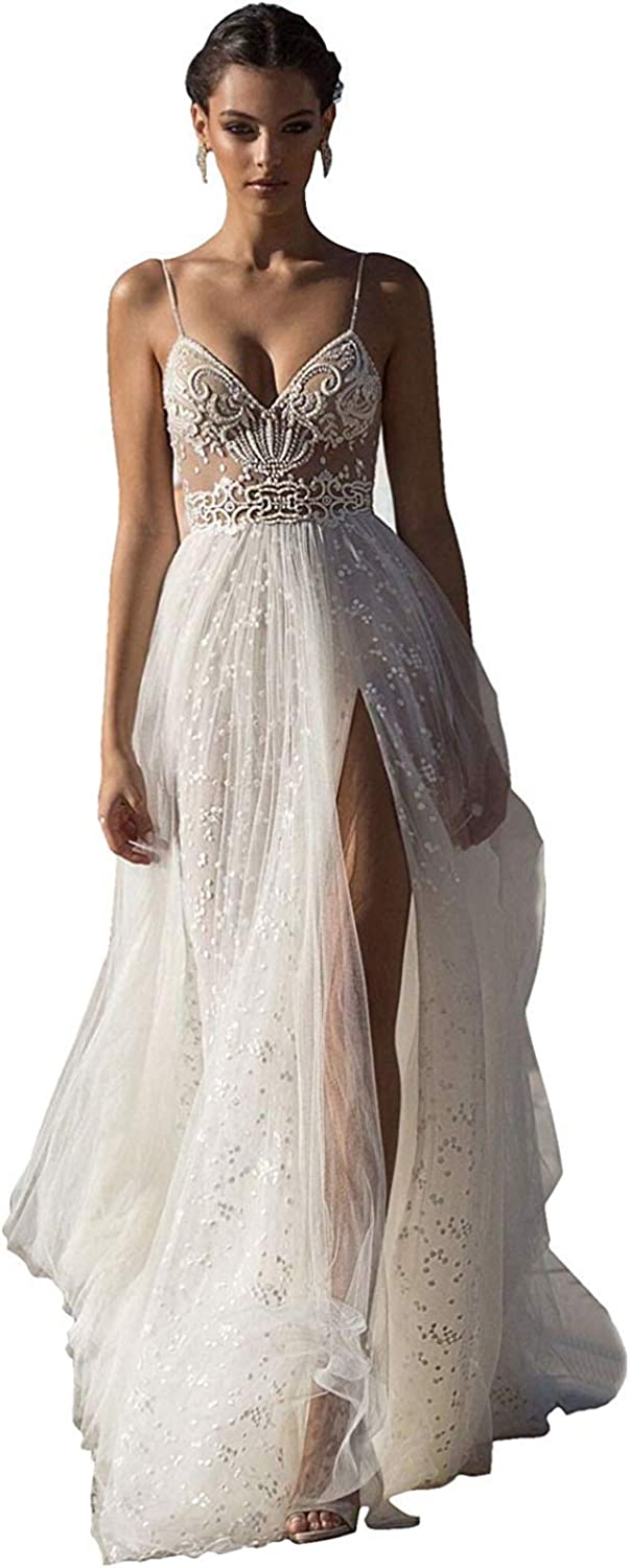 Melisa Plus Size lace Beaded Beach Wedding Dresses for Bride with Train Spaghetti Straps Bohemian Bridal Ball Gown