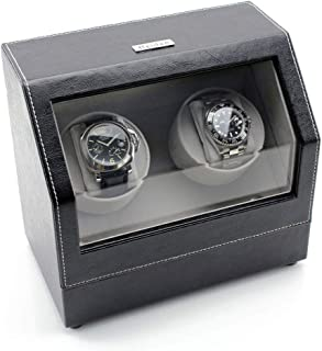 Battery Powered Double Watch Winder in Black Leather