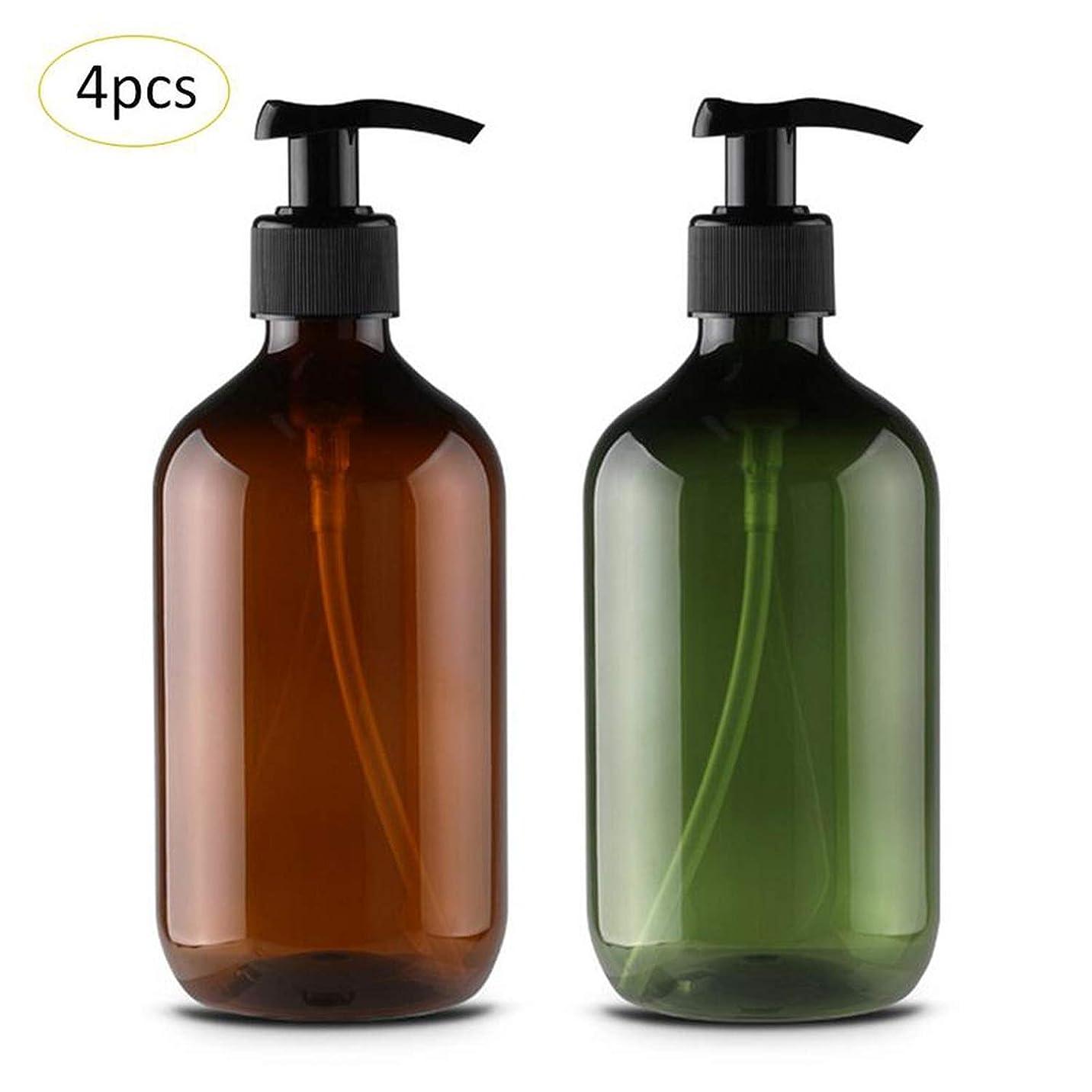 ソープシャワージェル、グリーンのために4本の新しい500MLポンプボトルメイクバスルームリキッドシャンプーボトルトラベルディスペンサーボトル容器