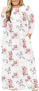 Womens L-4XL Long Sleeve Casual Plus Size Maxi Dresses...
