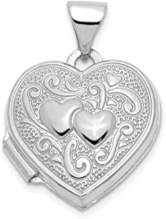 14k White Gold Heart Photo Pendant Charm Locket Chain Necklace That Holds Pictures Fine Jewelry For Women Gifts For Her