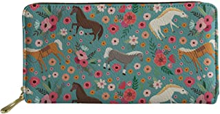 Women Girls Long Clutch Wallet Printed PU Leather Travel Purse Card Holder