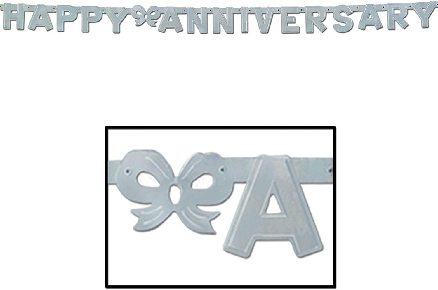 Club Pack of 12 Silver Foil Happy Anniversary  Jointed Streamer Party Decorations 6'