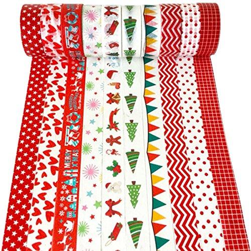 Iceblueor - Set di nastri Washi natalizi, 10 rotoli di nastro adesivo colorato per decorazioni fai-da-te, collezioni artistiche, lavoretti di artigianato, regali, a tema natalizio