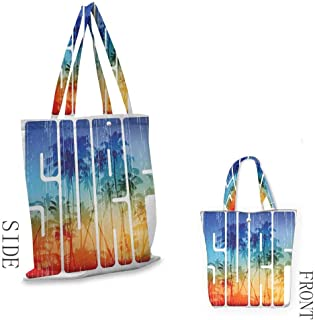 SurfPortable shopping bagSummer Surf Retro Letters That Reflect the Seacoast with Palm Tree Extreme Sports ArtConvenient save space W15.75 x L13.78 Inch Navy Orange