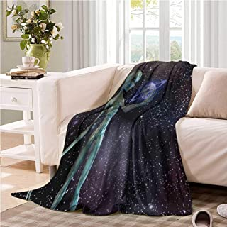 Oncegod Flannel Blanket Outer Space Alien Body Planet Stars Bedding Throw, or Blanket Sheet 60