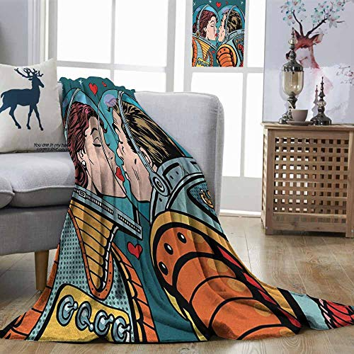 Zmstroy Decorative Throwing Blanket Love Space Man and Woman Valentines Kissing Science Cosmos Couple Pop Art Design Print Multicolor Digital Printing Blanket W70 xL93