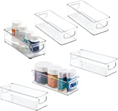 mDesign Stackable Plastic Storage Bin Caddy with Handles - Organizer for Vitamins, Supplements, Serums, Essential Oils, Me...