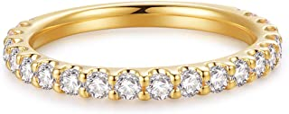 3mm 14K Yellow Gold Plated Sterling Silver Simulated Diamond Cubic Zirconia CZ Half Eternity Wedding Band Ring