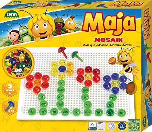 Lena 35613 - Mosaik Steckspiel Set Biene Maja, Steckmosaik mit 80 farbigen Stecker, Mosaikstecker 15 mm, Mosaikspiel für Kinder ab 3 Jahre, Komplettset mit Steckplatte ca. 21 x 16 cm, transparent