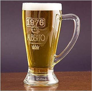 Calledelregalo Regalo Personalizable: Jarra de Cerveza Baviera grabada con el Nombre y año de Nacimiento