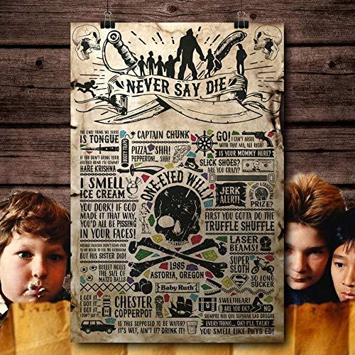 Goonies Movie 80's Inspirado Vintage Retro Man Cave Bar Pub Shed Novedad Regalo Aluminio Metal Metal Decoración de la pared Cartel