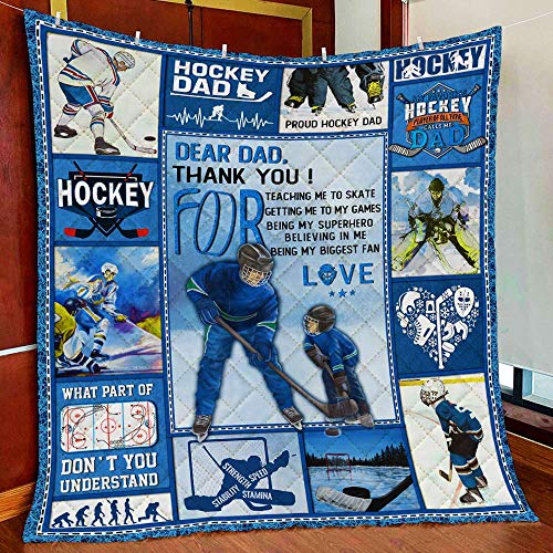 Hockey Dad – Thank You for Teaching Me to Skate All Season Quilts Blanket Super King Queen Twin Size - Best Decorative for Pet Lovers Bedroom Sofa Home Decor Camping