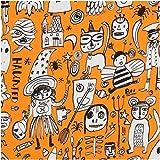 Orange Stoff mit Hexen und Monstern von Dear Stella