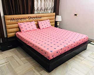 Magnetic Shadow Polycotton 160 TC Fitted Bedsheet (King_Pink)