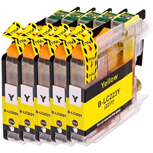 AfiD 5er Set Druckerpatronen zu Brother LC-223 Yellow für MFC-J 4620 DW MFC-J 4625 DW MFC-J 480 DW MFC-J 5320 DW MFC-J 5600 Series MFC-J 5620 DW MFC-J 5625 DW MFC-J 5720 DW MFC-J 680 DW MFC-J 880 DW