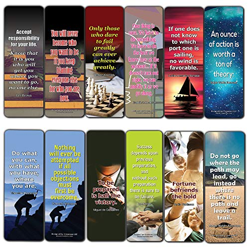 Creanoso Inspirational Quotes That Motivate Us Toward Success Bookmarks (12-Pack) – Premium Designs Bulk Assorted Bookmarker Cards Pack – Inspiring Page Marking Set for Books - Clipper