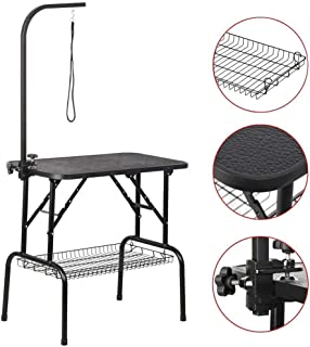 Yaheetech Portable Small Pet Dog Grooming Table Adjustable Height - 32/48-inch Drying Table w/Arm/Noose/Mesh Tray for Small Dogs Cats Non-Slip Maximum Capacity Up to 220lbs Black