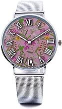Unisex Fashion Watch Snapdragon Red Vintage Flower Print Dial Quartz Stainless Steel Wrist Watch with Steel Strap Watchband for Men Women 40mm Casual Watch
