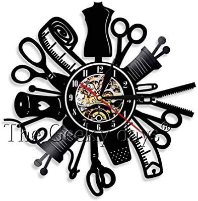 clockfc Máquina de Coser Vintage Reloj de Pared Acolchado Disco de ...