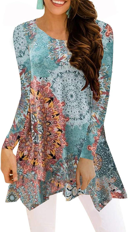 BOCOTUBE Women's Short Sleeve Irregular Hem Printed Blouse Loose TShirt Tunic Tops