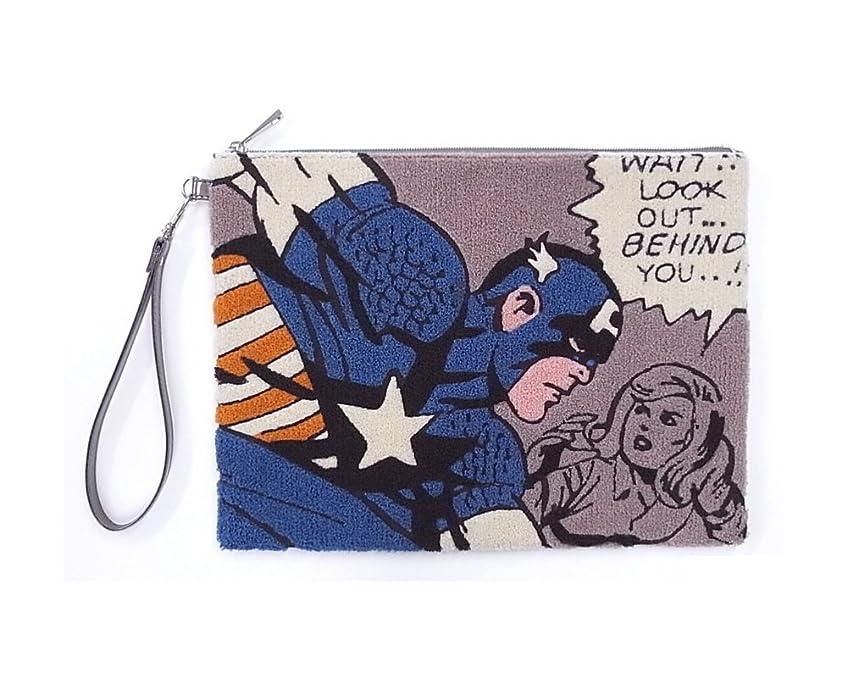 バケット慣らすダイアクリティカル[マーベル] [MARVEL] マーベル サガラ クラッチバッグ スパイダーマン キャプテンアメリカ ブラックウィドウ MARVEL(マーベル) サガラ刺繍 クラッチ