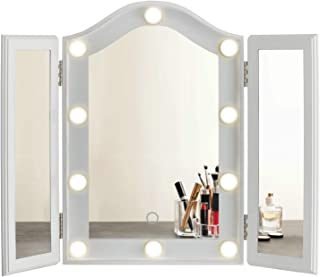 LUXFURNI Hollywood Tabletop Makeup Tri-fold Mirror with USB-Powered Dimmable Light Touch Control (White)