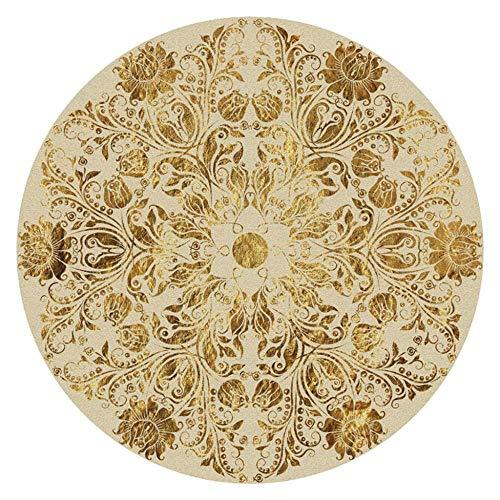 Miwaimao Alfombra de estilo nórdico étnico, alfombra redonda para salón, comedor, dormitorio,...
