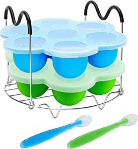 Pressure Cooker Accessories with Silicone Egg Bites Molds and Steamer Rack Trivet with Handles Compatible with Instant Pot Accessories 6, 8 Qt, 3 Pcs with 2 Bonus Spoons (Blue & Green - 3 Pcs)