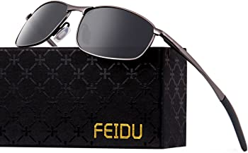 Feidu Men's HD Lens Metal Frame Polarized Sunglasses