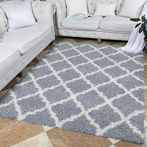 "Ottomanson Ultimate Shaggy Collection Moroccan Trellis Design Shag Rug Contemporary Bedroom Soft Shaggy Kids Rugs, Grey, 60"" L x 84"" W"