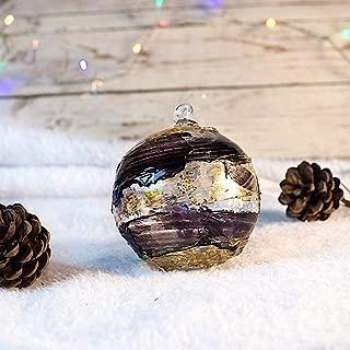 YourMurano, Christmas Set of 3 Murano Glass Balls Created with Golden Leaf Decorations, Xmas 4th Set, Guaranteed Origin Mark 100%