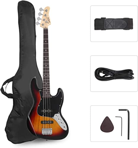 GLARRY 4 String GJazz Electric Bass Guitar Full Size Right Handed with Guitar Bag, Amp Cord and Beginner Kits (Sunset)…