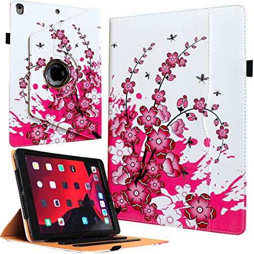 JYtrend Case for 2019 iPad Air 3/2017 iPad Pro 10.5,360 Rotating Multi-Angle Viewing Stand Folio Smart Cover with Pocket Auto Wake Up/Sleep for A2152 A2153 A2123 A2154 A1701 A1709 (Pink Flower)