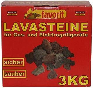 Favorit 3050 Lavastenen voor gas-/elektrische barbecue, 3 kg, praktische navulverpakking, 3 kg voor lavasteengrijs; hoogwa...