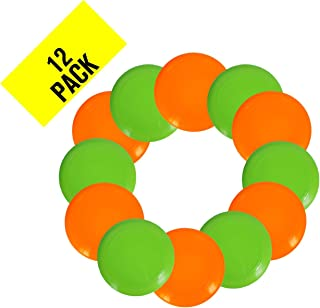 PTC, Inc. Plastic Flying Disc - Pack of 12 Discs - Assorted Colors - Heavy-Duty Bulk Set of 11-inch Flying Saucers - Great for School, Classroom, Prizes, and Party Favors - Best Value - Made in USA