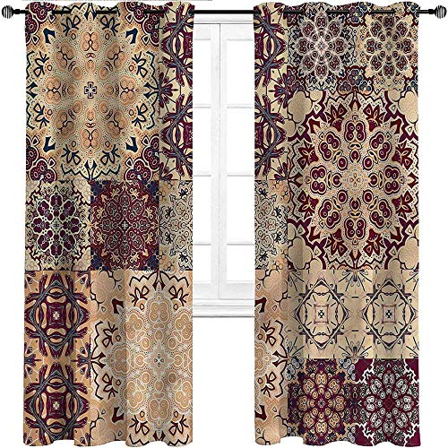 Interestlee Blackout Curtains, Vintage Grommet Drapes for Boy Girl Room, Antique Morroccan Art Set of 2 Panels, 108 Width x 72 Length