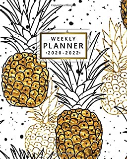 2020-2022 Weekly Planner: Gold Pineapple 3 Year Daily Planner & Organizer with Weekly Spread Views - Pretty Watercolor Thr...