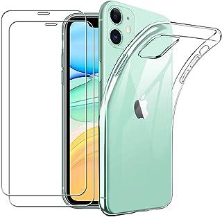 Yoowei para iPhone 11 Funda + [2-Pack] Cristal Templado, Transparente Suave Delgado TPU Silicona Carcasa con 2 Unidades Protector de Pantalla de Vidrio Templado para iPhone 11